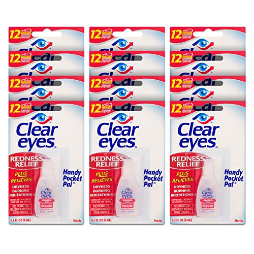 Clear Eyes Eye Drops, Redness Relief, Handy Pocket Pal (Pack of 12) Now $16.61