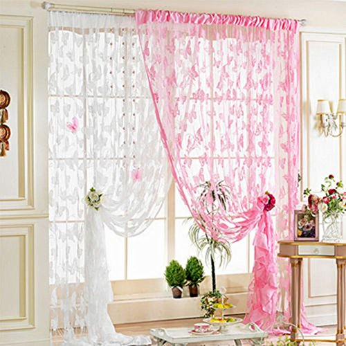 Cuteco tulle porta finestra tenda drappo pannello divisorio in voile, motivo floreale mantovane sciarpa sheer Pink