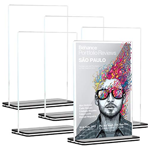 [5 Pack] 8.5 x 11 inch Office Table Sign Display Holder, Attom Tech T-Shape Black Base Portrait-Style Double-Sided Menu Display, Slant Ad Photo Frame Brochure Holder, Clear Acrylic 8.5 x 11 inches