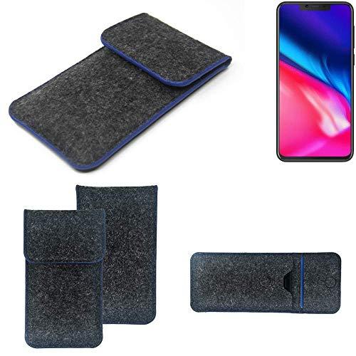 K-S-Trade® Handy Schutz Hülle Für Cubot P201 Schutzhülle Handyhülle Filztasche Pouch Tasche Case Sleeve Filzhülle Dunkelgrau, Blauer Rand