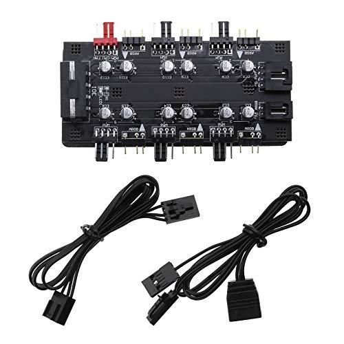 12 V 4 pines PWM y 5 V 3 pines ARGB 2 en 1 Hub 6 Vías CPU Ventilador RGB iluminación PCB Splitter Extender con 2 Cables de conexión