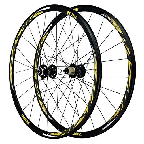 SJHFG Juego de Ruedas Bicicleta Carretera Carreras,Rueda Liberación Rápida de 29 Pulgadas Llanta Aleación de Aluminio Doble Capa Rueda Freno Disco 700C Freno V/C (Color : Black hub)