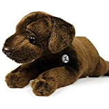 Peluche de perro labrador tumbado, 23 cm, color marrón