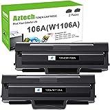 Aztech 106A Toner (Mit Chip) Kompatibel für HP 106A W1106A Druckerpatronen für HP Laser MFP 135wg HP Laser 107w Toner HP Laser 107a 107r 107w MFP 135a 135r 135w 135wg 137fnw 137fwg (2-Pack, Schwarz)