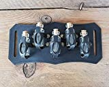 Belt Potion holder for 5 small bottles. Made of veg leather for adventurers, steampunk, alchemist, healers, cosplay or just to keep spices. (Black)