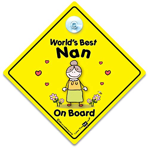 World's Best Nan sur planche, World's Best Nan, bébéà bord, autocollant, Sticker pare-chocs, signe, petit-enfant signe, grands-parents, voiture Panneau, signe, voiture pour bébé, signe, bébé pour bébé, signes, Grandad, Pops, Nanny, grands-parents