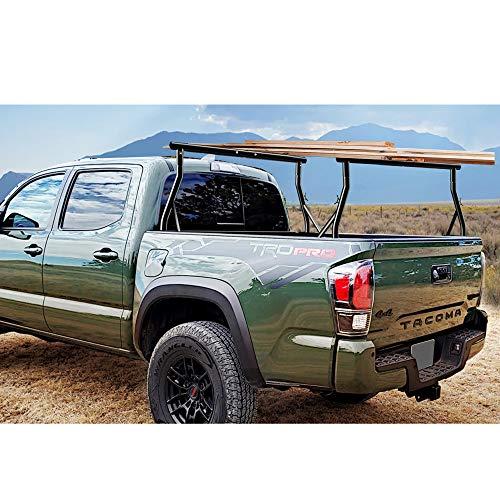 800lbs Capacity Heavy Duty Extendable Universal Pickup Truck Rack Ladder Rack Two-bar Set Matte Black One Pair