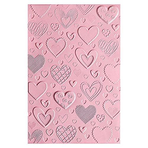 Sizzix Cartella da Embossing Textured Impressions 663628 3D Cuori by Courtney Chilson, Multicolore, taglia unica