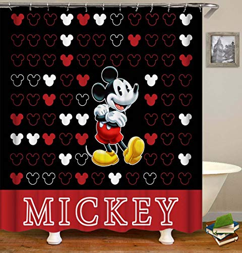 Bartori Cartoon Decor Shower Curtain The Mickey Mouse on The Black Background with White and Red Logo Waterproof Polyester Fabric Bath Curtain with Hooks and Size 72''X72''
