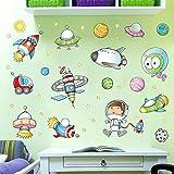 Pegatinas de dibujos animados gabinetes para habitaciones de niños entrenamiento de escuela primaria kindergarten adhesivos decorativos de pared-Nave espacial 8_Big
