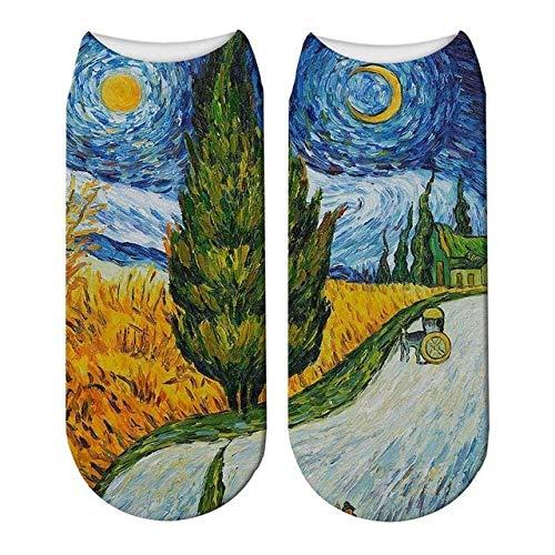 SIHIELOA 5 Pares 3D Pintura Retro Arte Van Gogh Calcetines Mujeres Divertido Flor Noche Estrellada Calcetines Cortos Calcetines de Pintura Al Óleo 10
