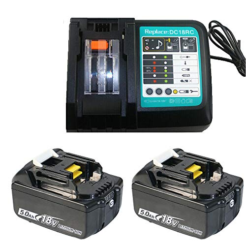 14.4V-18V Replacement Battery Charger DC18RC + 2X 5.0Ah 18V Replacement 1 x for Makita Battery with Led Display BL1840 BL1860 BL1850 LXT