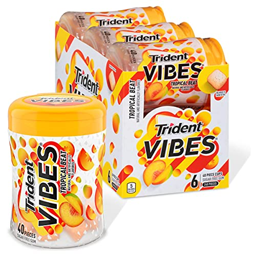 Trident Vibes Tropical Beat Sugar Free Gum, 6 Bottles of 40 Pieces (240 Total Pieces)