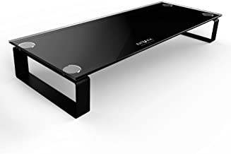 Eutuxia Type-S Black Tempered Glass Monitor Stand, TV, Laptop, Computer, All-in-One Desktop, Printer Riser [21.75 x 8.25 x 3.25 Inches]