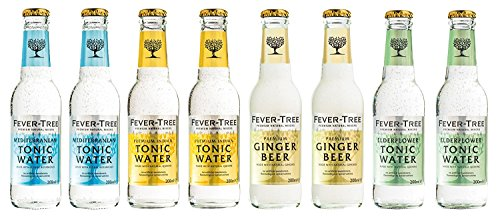 Fever-Tree Set Tonic Water, 2 x Mediterranean, 2 x Premium Indian, 2 x Ginger Beer, 2 x Elderflower ( 8Flaschen Mix )