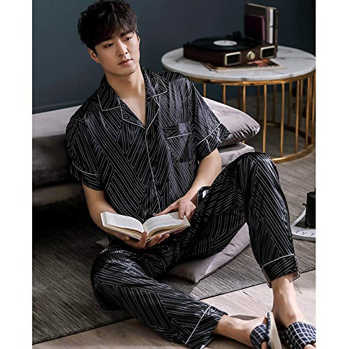 ZWLXY Men Satin Sleepwear Set Short Sleeve Long Pants Print Silk Pajamas Male Casual Home Clothing Autumn Open Stitch Nightwear,a,XXXL