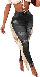 Lazapa Pocket Jeans for Women, Large Size High Waist Slim Bootcut Denim Jeans Fringe Hole Zip Button Jeans Fall Trousers