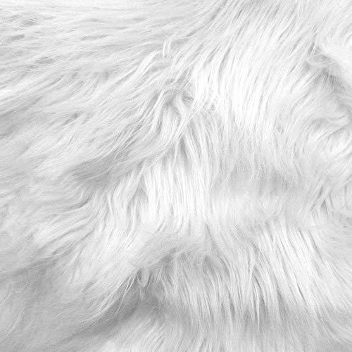 "Barcelonetta | Half Yard Faux Fur | 18"" X 60"" Inch | Craft Supply, Costume, Decoration (White)"