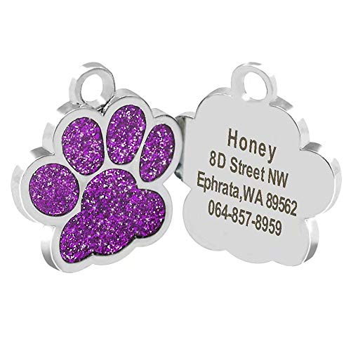 Didog Glitter Paw Print Custom Pet ID Tags for Small Medium Large Dogs and Cats,Personalized Engraving,Purple
