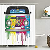 CHENHAO Cortina de baño Lavable Groovy Decorations Set by Hippie Van Dripping Rainbow Paint Good Old Days Pop Culture Waterproof 200X240cm