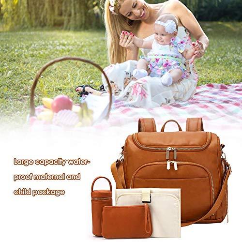 Wickeltasche Rucksack-Set, Wickeltasche mit Wickelauflage, Kinderwagengurte, isolierte Taschen, Kosmetiktasche | PU Leder wasserdichte Windeltasche für Reisen, Einkaufen, Braun