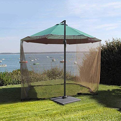 Micnaron 9' Patio Umbrella Outdoor Table Bug Screen Mesh Mosquito Net Canopy Curtains Adjustable Enclosure Large Umbrella Hanging Tent 100% Polyester Light Weight Mosquito Netting