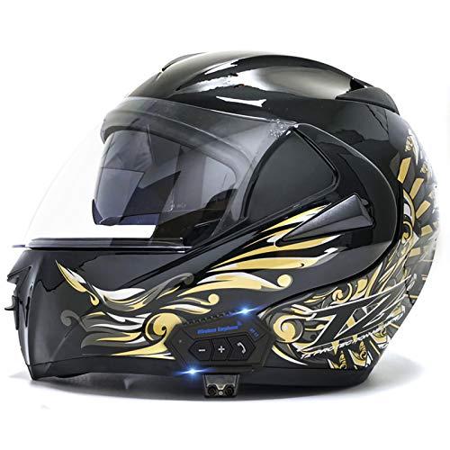 Motorcycle Modular Bluetooth Helmet, Flip-Type Double Sun Visor Full Helmet DOT Certified Helmet Built-in Mp3 FM Broadcast Integrated Intercom Communication System 6,L