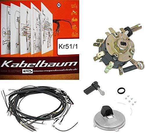 SET: Kabelbaum für Simson Schwalbe Kr51-1 + Schaltplan farbig + Zündschloss + Zündschlossabdeckung + Zündschlüssel + Kleinteile