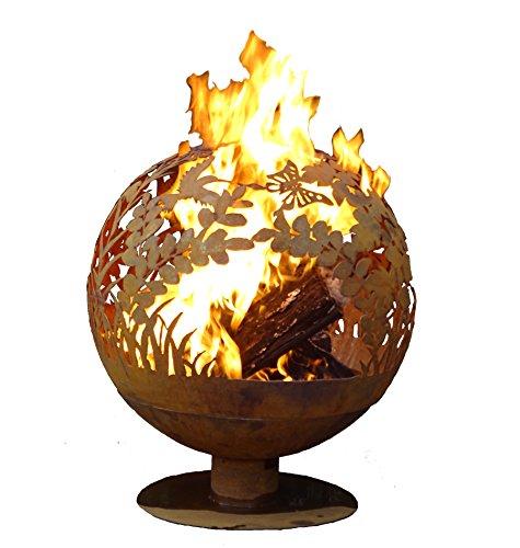 Find Bargain Esschert Design FF1018 Garden Fire Sphere, Rust Metal Finish - X Large