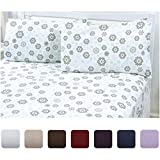 Mellanni 100% Cotton Flannel Sheet Set - Lightweight 4 pc Luxury Bed Sheets - Cozy, Soft, Warm, Breathable Bedding - Deep Pockets - All Around Elastic (Queen, Gray)