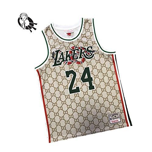 Kobe Bean Bryant 24# Los Angeles Lakers Basketballtrikot Herren, 98% Baumwollstoff Retro Sweeveless Vest Basketballfans Trikot, Unisex-L
