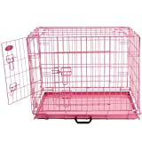 Easipet Foldable Pink Metal Dog Puppy Cage Crate in 4 Sizes (30' Pink Cage)