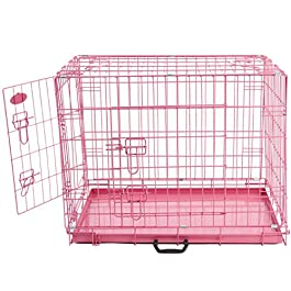 Easipet Foldable Pink Metal Dog Puppy Cage Crate in 4 Sizes