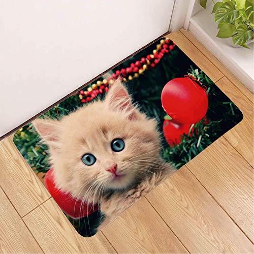 Deurmat tapijt, 3D-bedrukte schattige witte kat rode balloon antislip soft ingang tapijt mat, voetmat welkom slaapkamer hal rechthoekige deurmat voor Kerstmis Home woonkamer decoratie 50×80cm