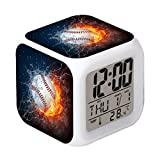 Cointone Led Alarm Clock Baseball Burning Sport Design Creative Desk Table Clock Glowing Electronic Colorful Digital Alarm Clock for Unisex Adults Kids Toy Birthday Present