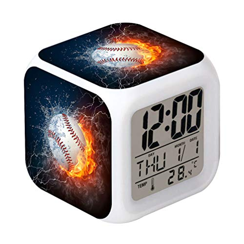 Cointone Led Alarm Clock Baseball Fire Sport Design Creative Desk Table Clock Glowing Electronic Colorful Digital Alarm Clock for Unisex Adults Kids Toy Birthday Present