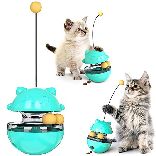 Price comparison product image Cat Treat Dispenser Ball Toys,  Interactive Treat-Dispensing Ball for Indoor Cats & Dogs,  Tumbler Shaped Pet Slowfeeder,  IQ Stimulation Puzzle Feeder Toy Easy to Clean