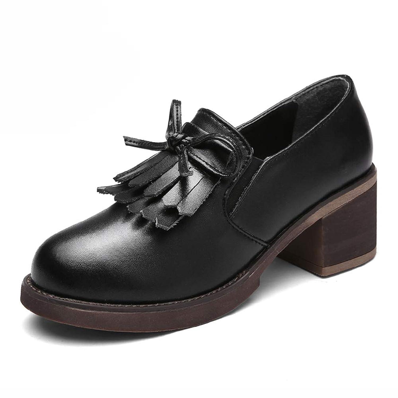HWF レディースシューズ 女性の靴ハイヒールの靴女性のシングル英国スタイルのレザーシューズ (色 : 黒, サイズ さいず : 39)