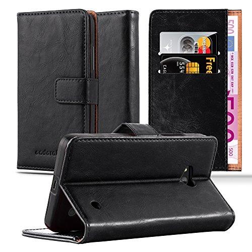 Cadorabo Custodia Libro per Nokia Lumia 640 in NERO GRAFITE - con Vani di Carte, Funzione Stand e Chiusura Magnetica - Portafoglio Cover Case Wallet Book Etui Protezione