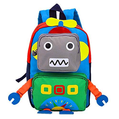 POWOFUN Kids Preschool Backpack Cute Cartoon Cool Schoolbag (Green Robot L)