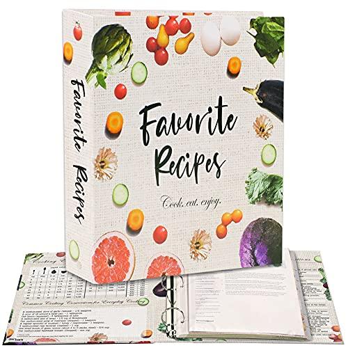 Rezeptordner 3-Ring A4 Kit mit 16 Teilern, 32 Etiketten und 50 Kunststoffhüllen. Speichern Sie Ihre gedruckten Rezepte und erstellen Sie Ihr eigenes Lieblingsrezeptbuch. Süßes DIY Kochbuch Set