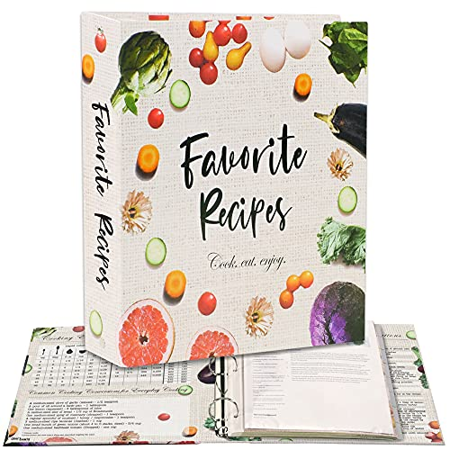 Recipe Binder 3-Ring A4 Kit with 16 Dividers, 32 Labels & 50 Plastic Sleeves. Store Your Printed Recipes & Create Your Own Favorite Recipes Book. Cute DIY Cookbook Set
