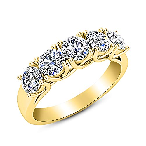 2 Carat (ctw) 14K Yellow Gold Round Diamond Ladies 5 Five Stone Wedding Anniversary Stackable Ring Band Ultra Premium Collection
