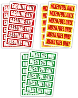 (3 Sets of 12 Decals) DIESEL FUEL ONLY / GASOLINE ONLY / MIXED FUEL ONLY Automotive Decals / Labels / Markers / Weatherproof and Chemical Resistant Stickers