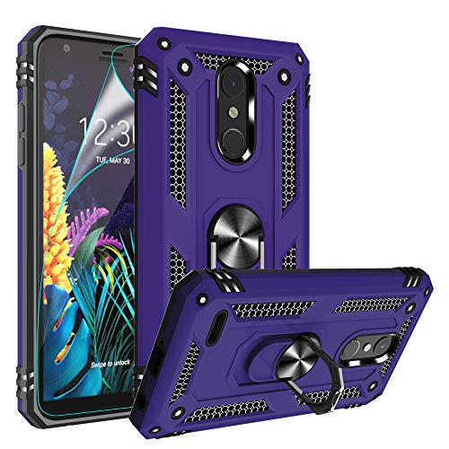 LG K30(X410) Case, LG K10 2018/Harmony 2/Phoenix Plus/Premier Pro LTE Case with HD Screen Protector,Gritup 360 Degree Rotating Metal Ring Kickstand Cover Phone Case for LG K30 Purple