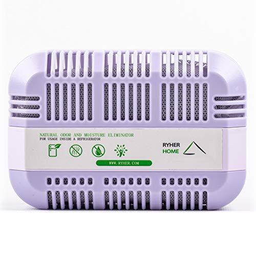 Ryher Deodorante a Carbone Attivo di Bamboo Naturale per Frigorifero - Purifica l'aria e rimove Gli odori da Frigorifero, Armadio, Cucina - Riutilizzabile per 2 Anni (Viola, XXL - 1 unità)