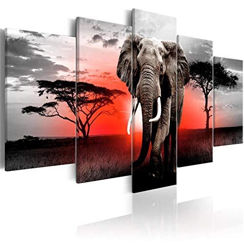Amdai 5 Piezas de póster de Animales Salvajes, Arte de Pared, Elefantes, pósters e Impresiones, Pintura en Lienzo, Cuadros modulares para la decoración del hogar, Sala de Estar, 5 Piezas, póster de a