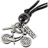 COOLSTEELANDBEYOND Unisex Vintage Cruz Bicicleta Colgante, Collar de Hombre Mujer, Negro Cordón de Cuero Ajustable, Unico