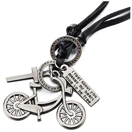 COOLSTEELANDBEYOND Vintage Croce Bicicletta Ciondolo Collana con Pendente Uomo Donna, Nero Cavo in Pelle Regolabile, Unico