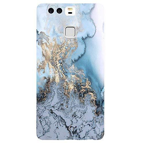 Vanki Custodia Huawei P9 Plus Cover Case Morbida di TPU Silikon Cristallo Trasparente Sottile Bordo Proteggi Copertura Completa-Progettazione di Marmo per Huawei P9 (Huawei P9 Plus, B)